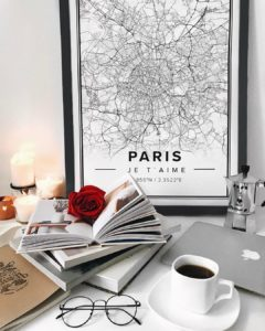 Modern map poster of Paris, France