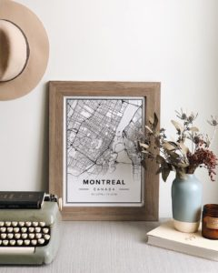 White map poster of Montreal, Canada