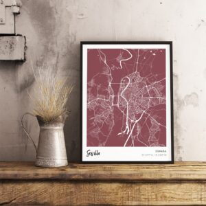Red map poster of Sevilla, Spain