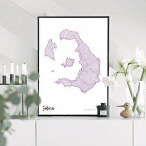 Purple map poster of Santorini, Greece