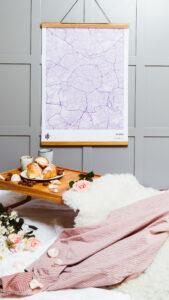 Purple romantic map poster of Paris, France