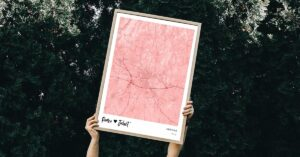 Pink map poster of Verona, Italy