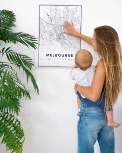 Modern map poster of Melbourne, Australia