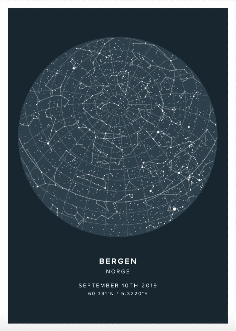 asphalt star map poster of bergen, norway