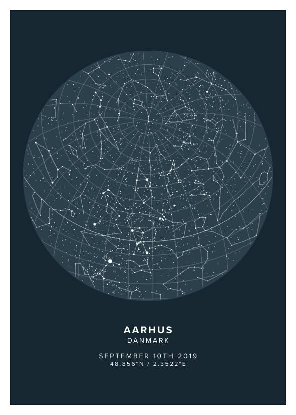 asphalt star map poster of aarhus, denmark