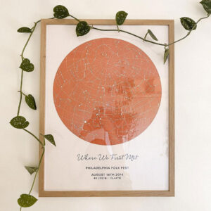 romantic star map poster