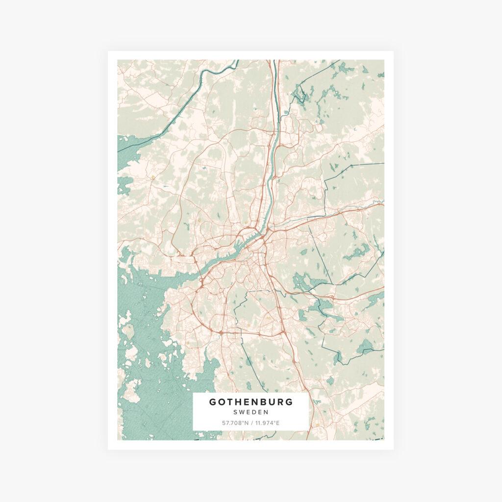 Customizable Street Map Print of Gothenburg