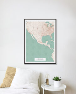Vintage map poster of Mexico