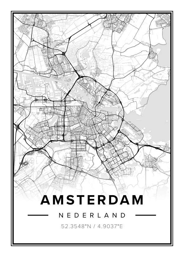 black and white map poster of amsterdam, the netherlands