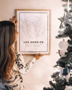White star map poster of Los Angeles, United States