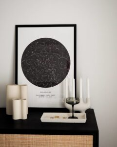 black and white star map poster of melbourne, australia