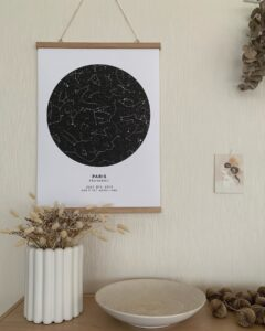 black and white starmap poster of paris, france