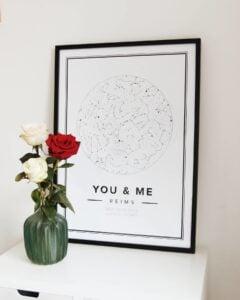 white star map valentines