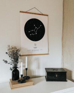 black zodiac star map Virgo