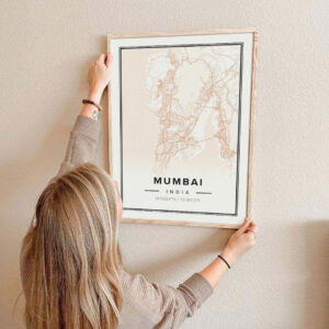 Peach map poster of Mumbai, India