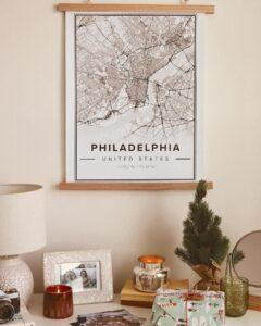 white map poster of Philadelphia