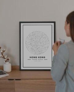 white star map poster of Hong Kong