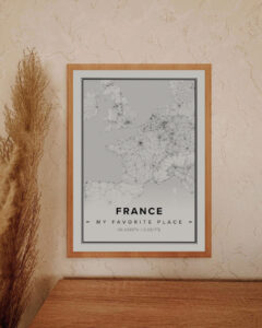 white map poster of France