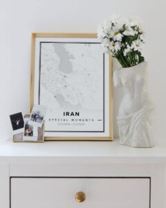 white map poster of Iran