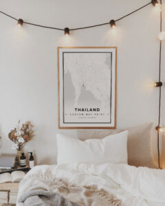 white map poster of Thailand
