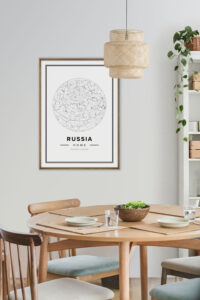 White star map poster of Russia