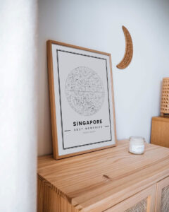 white star map poster of Singapore