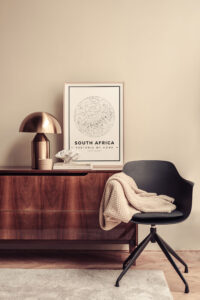 White star map poster of South Africa
