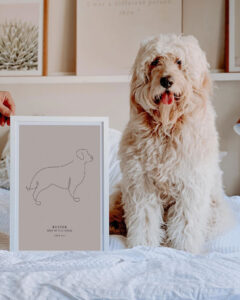 line art dog poster