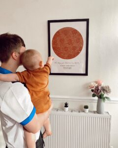 orange star map poster of the day you became my daddy
